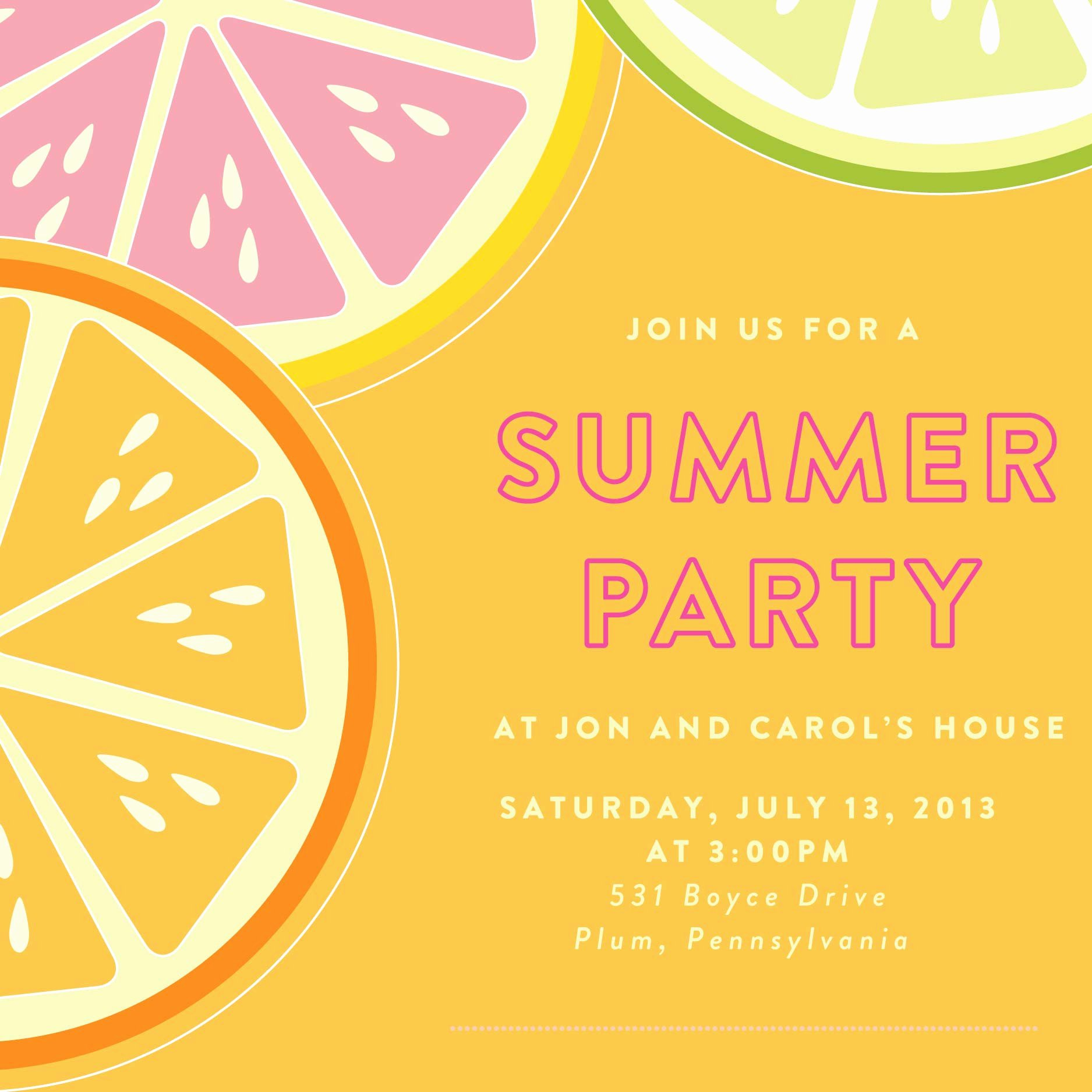 Summer Party Invitation Template Lovely Card Template Summer Party Invitation Template Card