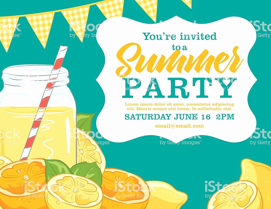 Summer Party Invitation Template Lovely Summer Party Invitation Template with Lemonade Lemons