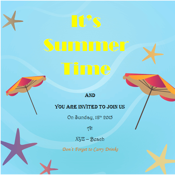 Summer Party Invitation Template Luxury Holiday Invitation Templates Templates for Microsoft Word