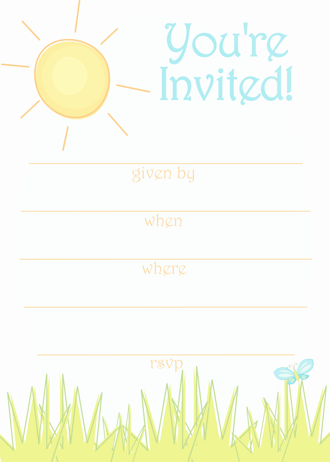 Summer Party Invitation Template New Free Printable Party Invitations Sunny Day Invitation for