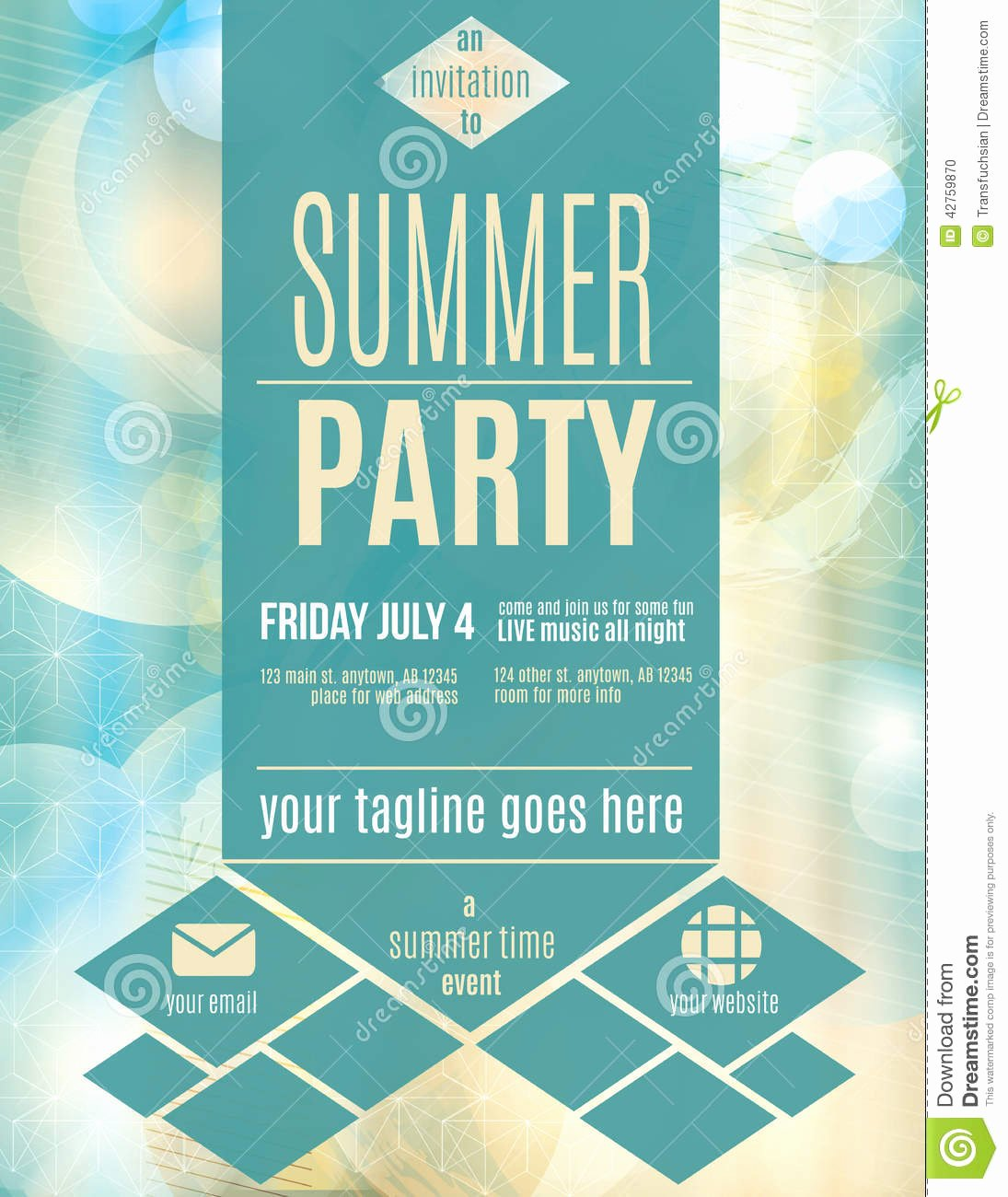 Summer Party Invitation Template Unique Modern Style Summer Party Flyer Template Download From Ov