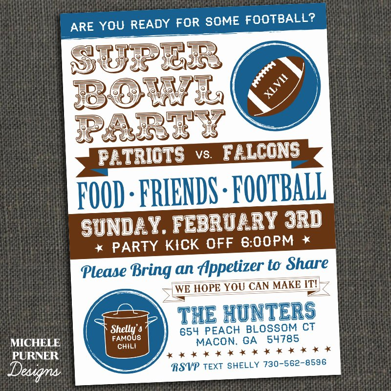 Superbowl Party Invitation Template Best Of Michele Purner Designs