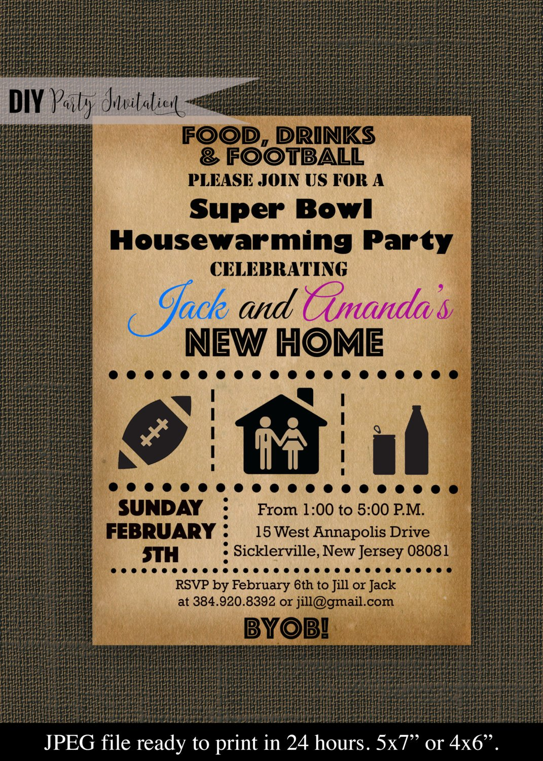 Superbowl Party Invitation Template Fresh Super Bowl Housewarming Party Invitation by Diypartyinvitation