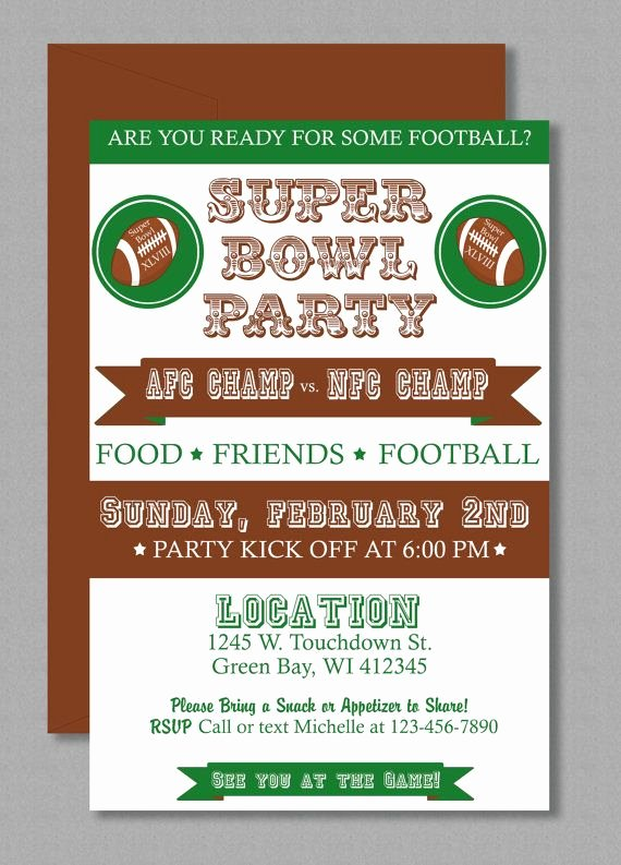 Superbowl Party Invitation Template Fresh Vintage Super Bowl Invitation Editable Template