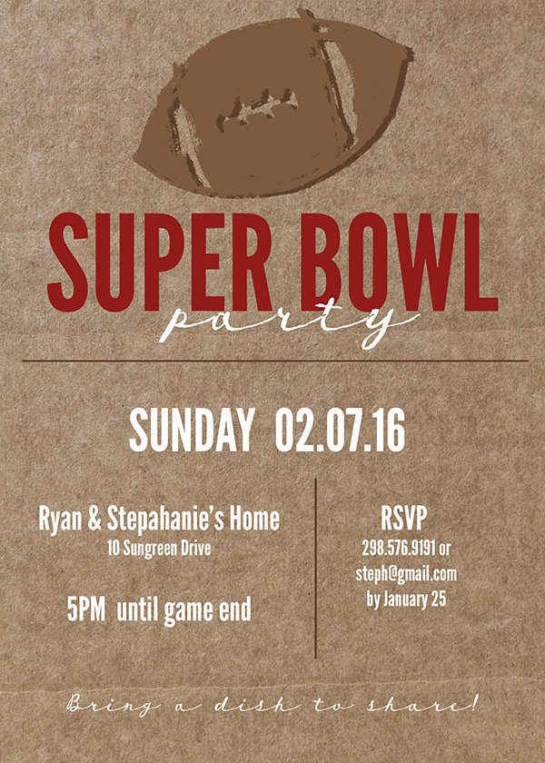 super bowl printable invitation