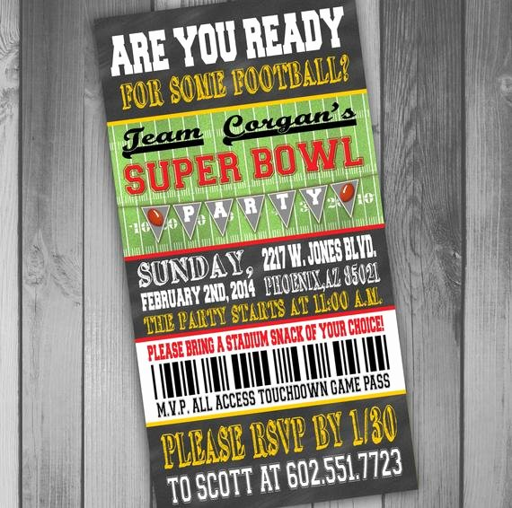 Superbowl Party Invitation Template Inspirational Superbowl Party Invitation Ticket Invitation Football