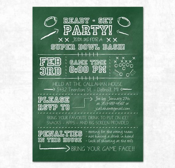 Superbowl Party Invitation Template Luxury Football Party Invitation Printable Chalkboard