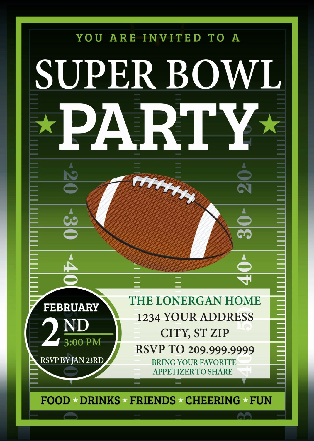 Superbowl Party Invitation Template Luxury Super Bowl Party Invitation Template