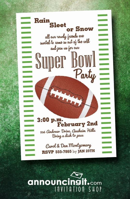 Superbowl Party Invitation Template Unique Stripes and Football Super Bowl Party Invitations E
