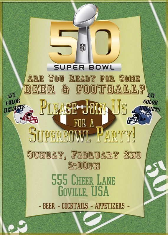 Superbowl Party Invitation Template Unique Super Bowl 50 Printable Football Party Invitations