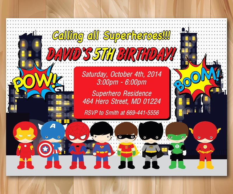 Superhero Birthday Invitation Template Awesome Super Hero Birthday Party Invitation Superhero Pop Art Bday