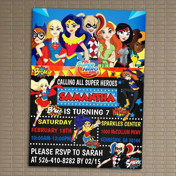 Superhero Birthday Invitation Template Beautiful Dc Superhero Girls Invitation You Print Invitation Dc