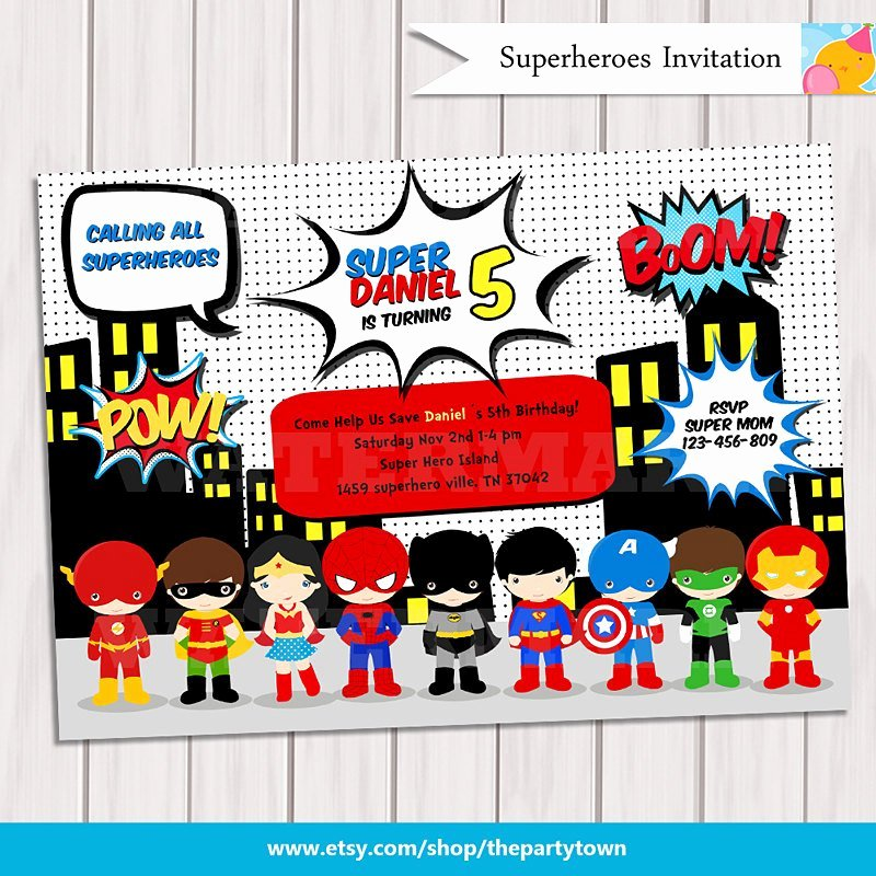 Superhero Birthday Invitation Template Beautiful Super Hero Birthday Party Pop Art Superhero Invitation