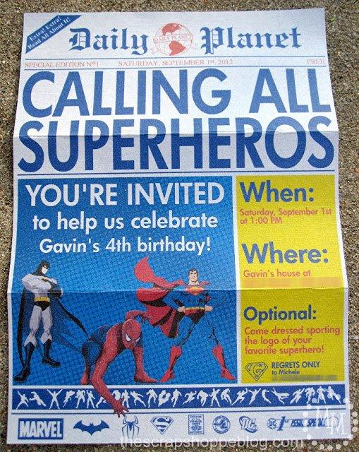 Superhero Birthday Invitation Template Beautiful Superhero Newspaper Birthday Invitation the Scrap Shoppe