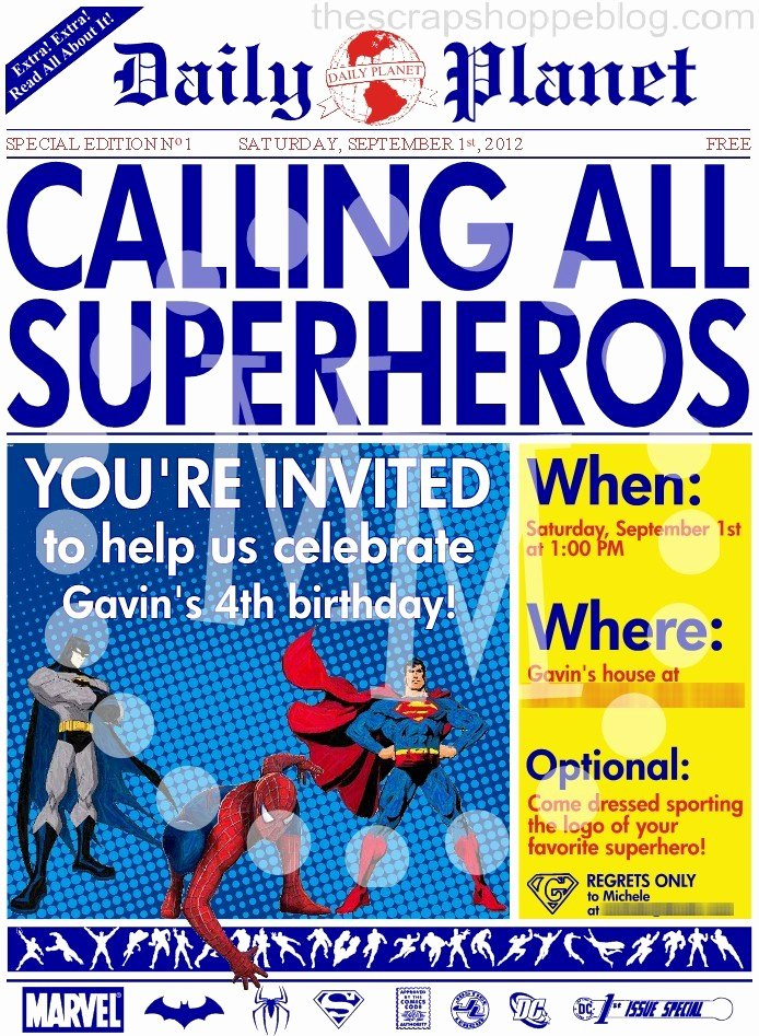 Superhero Birthday Invitation Template Best Of Superhero Newspaper Birthday Invitation the Scrap Shoppe