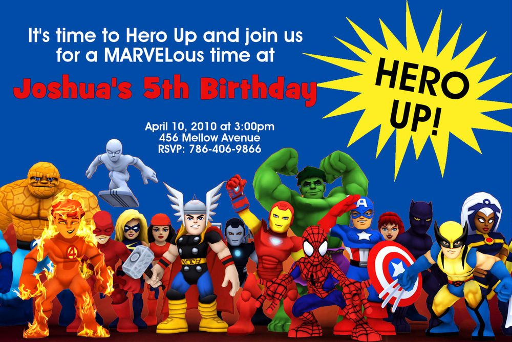 Superhero Birthday Invitation Template Inspirational Super Hero Squad Birthday Party Invitations 24hr Service