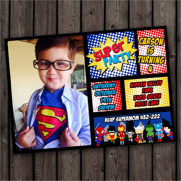 Superhero Birthday Invitation Template Luxury 30 Superhero Birthday Invitation Templates Psd Ai