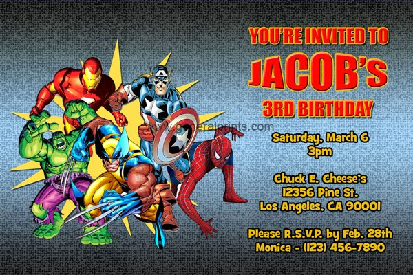 Superhero Birthday Invitation Template Luxury Marvel Superhero Invitations