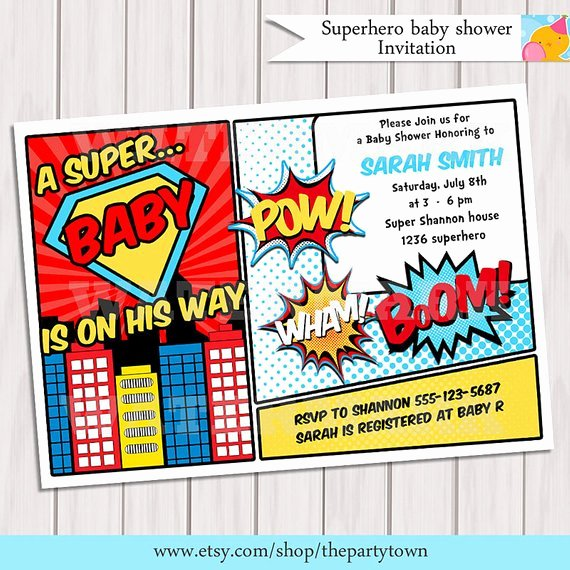Superhero Birthday Invitation Template New Superhero Baby Shower Invitation Printable Invite Card