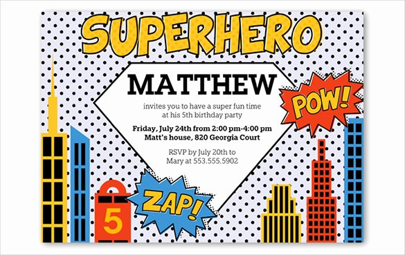 Superhero Invitation Template Free Awesome 30 Superhero Birthday Invitation Templates Psd Ai