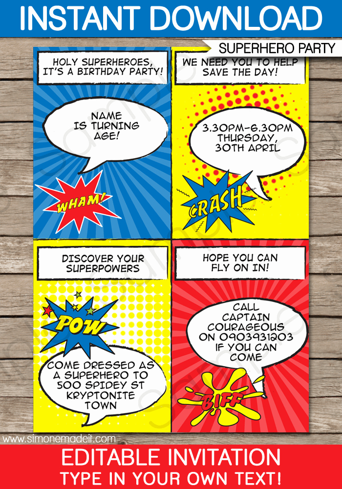 Superhero Invitation Template Free Awesome Superhero Party Invitations