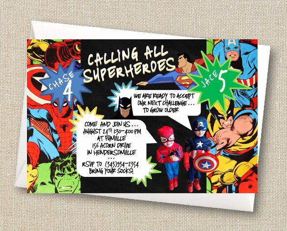 Superhero Invitation Template Free Beautiful Free Printable Superhero Birthday Invitation Templates