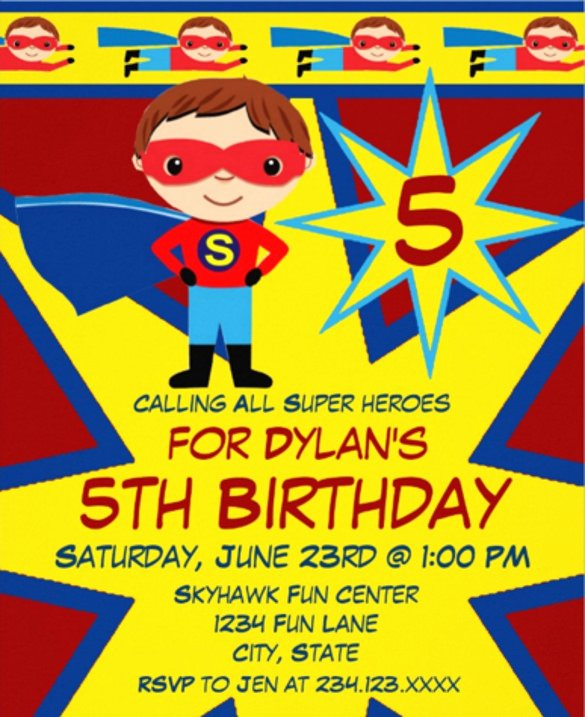 Superhero Invitation Template Free Elegant 20 Superhero Birthday Invitations Psd Vector Eps Ai