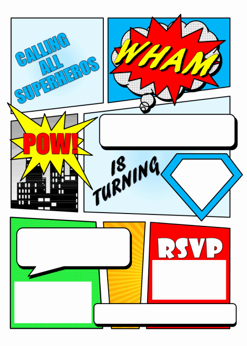 Superhero Invitation Template Free Lovely 12 Free Printable Blank Superhero Birthday Invitation