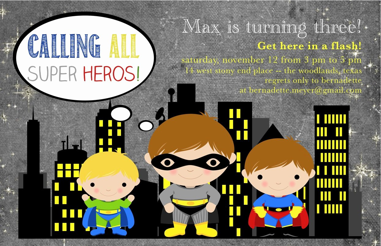 Superhero Invitation Template Free Lovely Free Printable Superhero Birthday Invitations