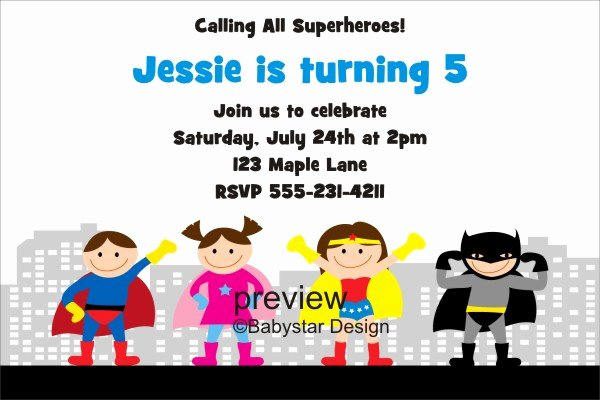 Superhero Invitation Template Free New Free Evite Birthday Party Invitations