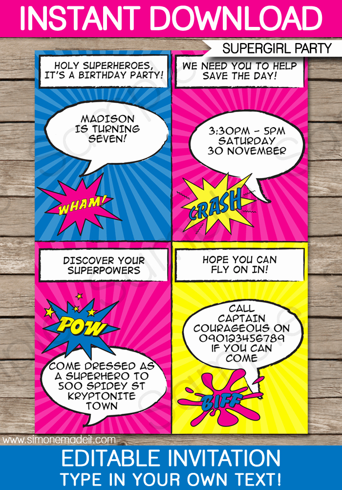 Superhero Invitation Template Free New Superhero Girl Party Invitations Template