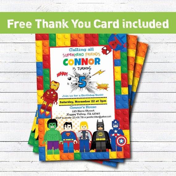 Superhero Invitations Template Free Beautiful Lego Superhero Avengers Birthday Party Invitation Boy