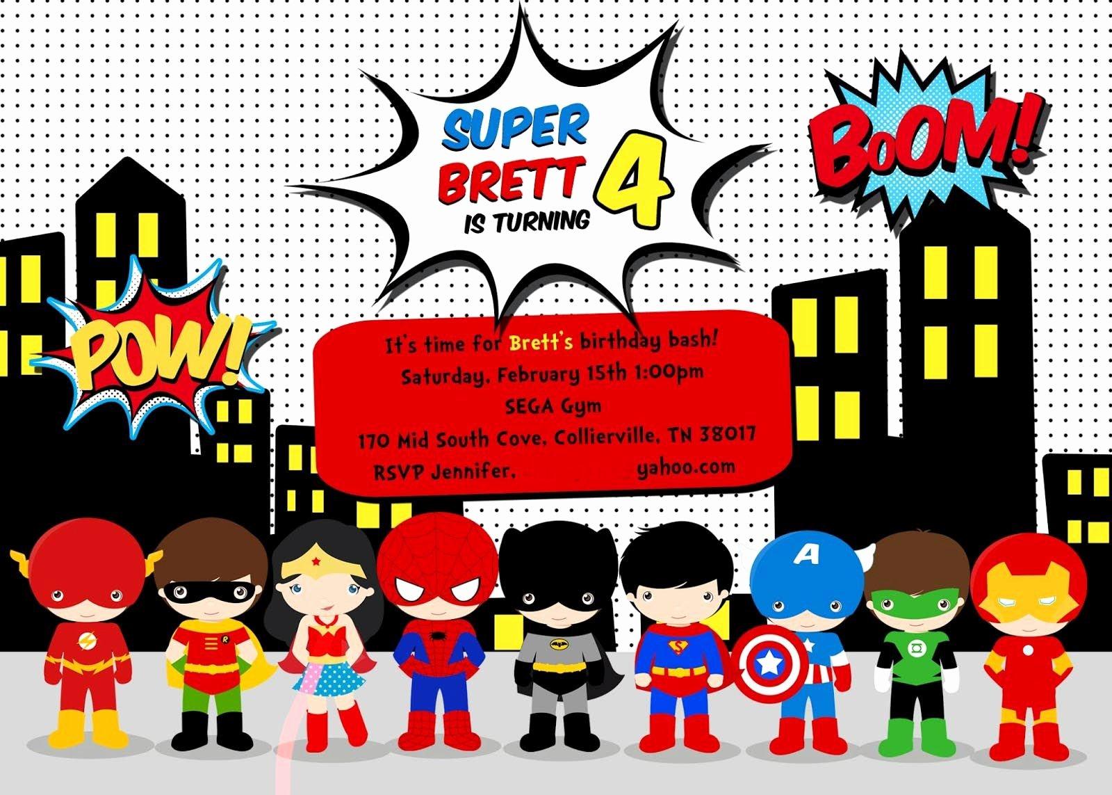 Superhero Invitations Template Free Elegant Free Superhero Birthday Party Invitation Templates