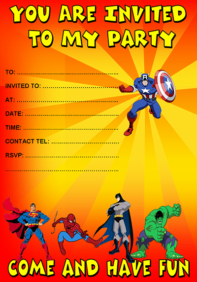 Superhero Invitations Template Free Elegant Party Invitations