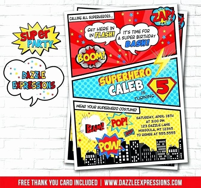 Superhero Invitations Template Free Elegant Superhero Birthday Invitation Cards Free Create Card with