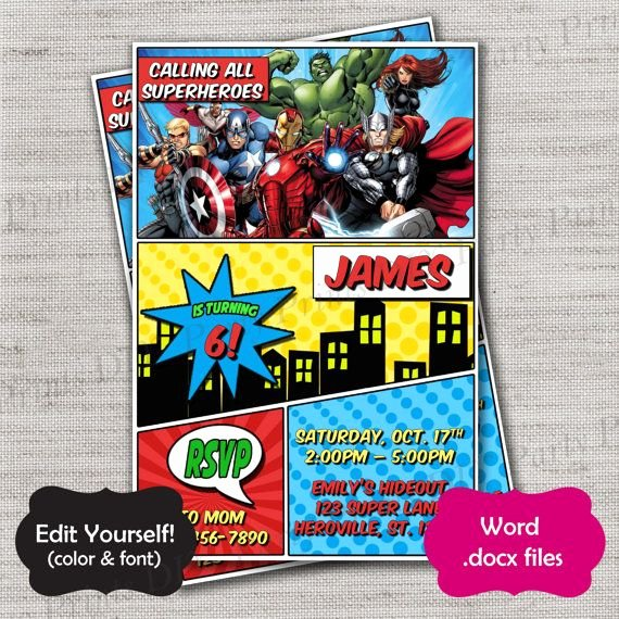 Superhero Invitations Template Free Fresh Avengers Invite Template Diy Diy Template Instant Download
