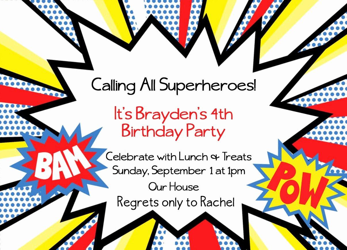 Superhero Invitations Template Free Inspirational Free Superhero Party Invitations Template Cool