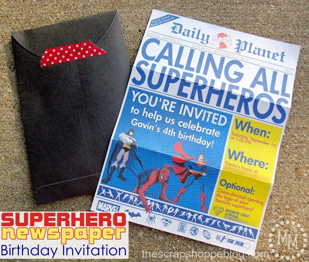 Superhero Invitations Template Free Inspirational Superhero Newspaper Birthday Invitation the Scrap Shoppe