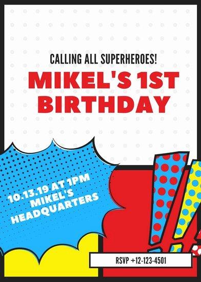 Superhero Invitations Template Free Lovely Customize 113 Superhero Invitation Templates Online Canva