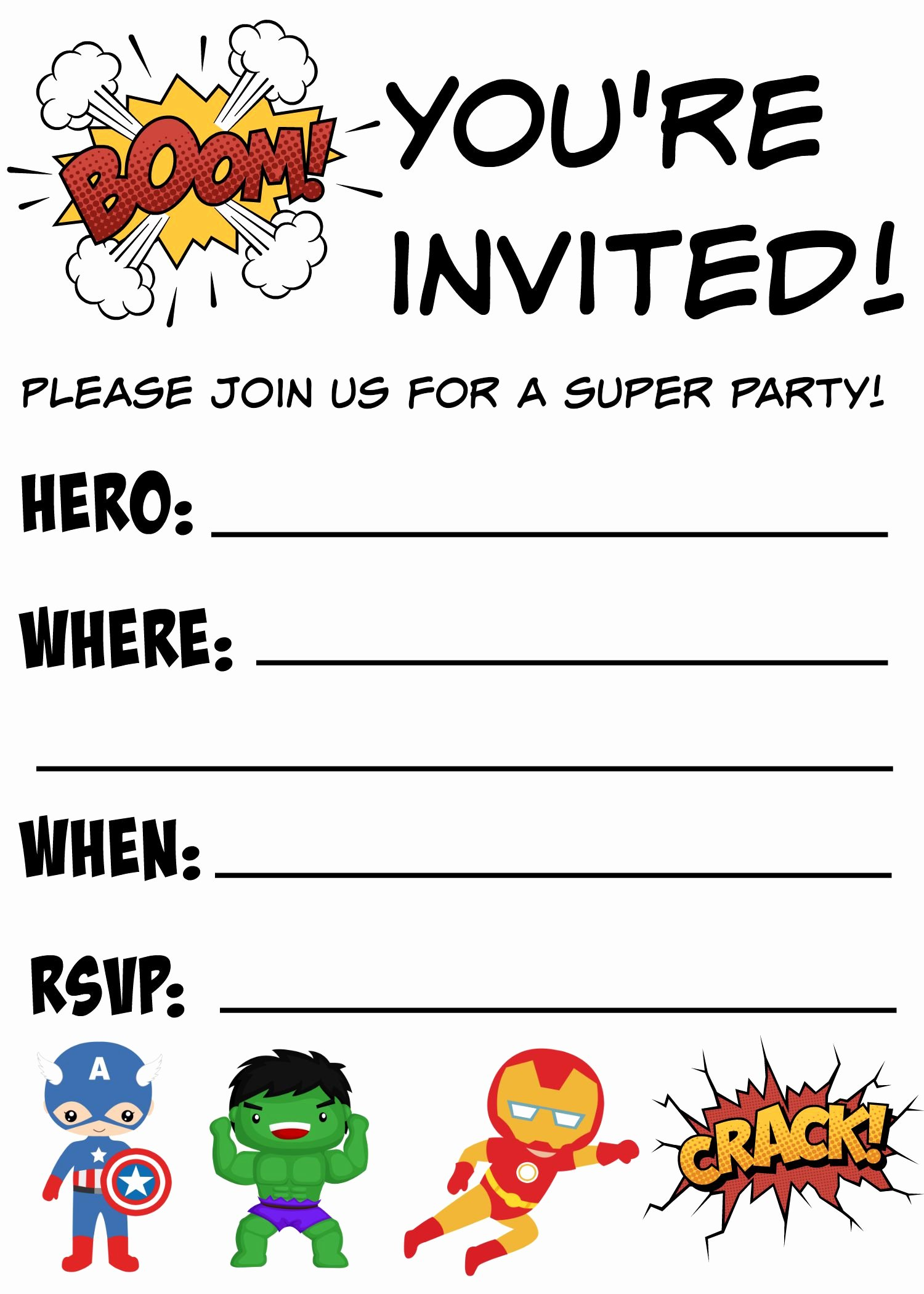 Superhero Invitations Template Free Luxury 12 Free Printable Blank Superhero Birthday Invitation