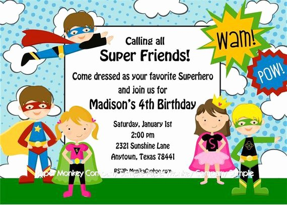 Superhero Invitations Template Free Luxury Superhero Birthday Invitations
