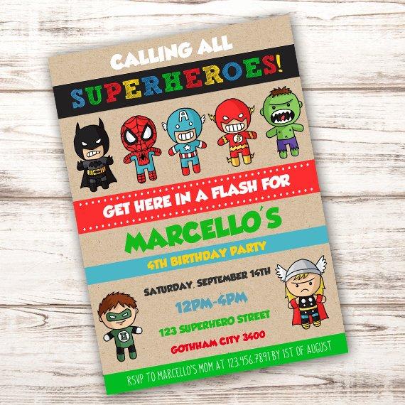 Superhero Invitations Template Free Unique Superhero Birthday Party Invitation Template Edit with