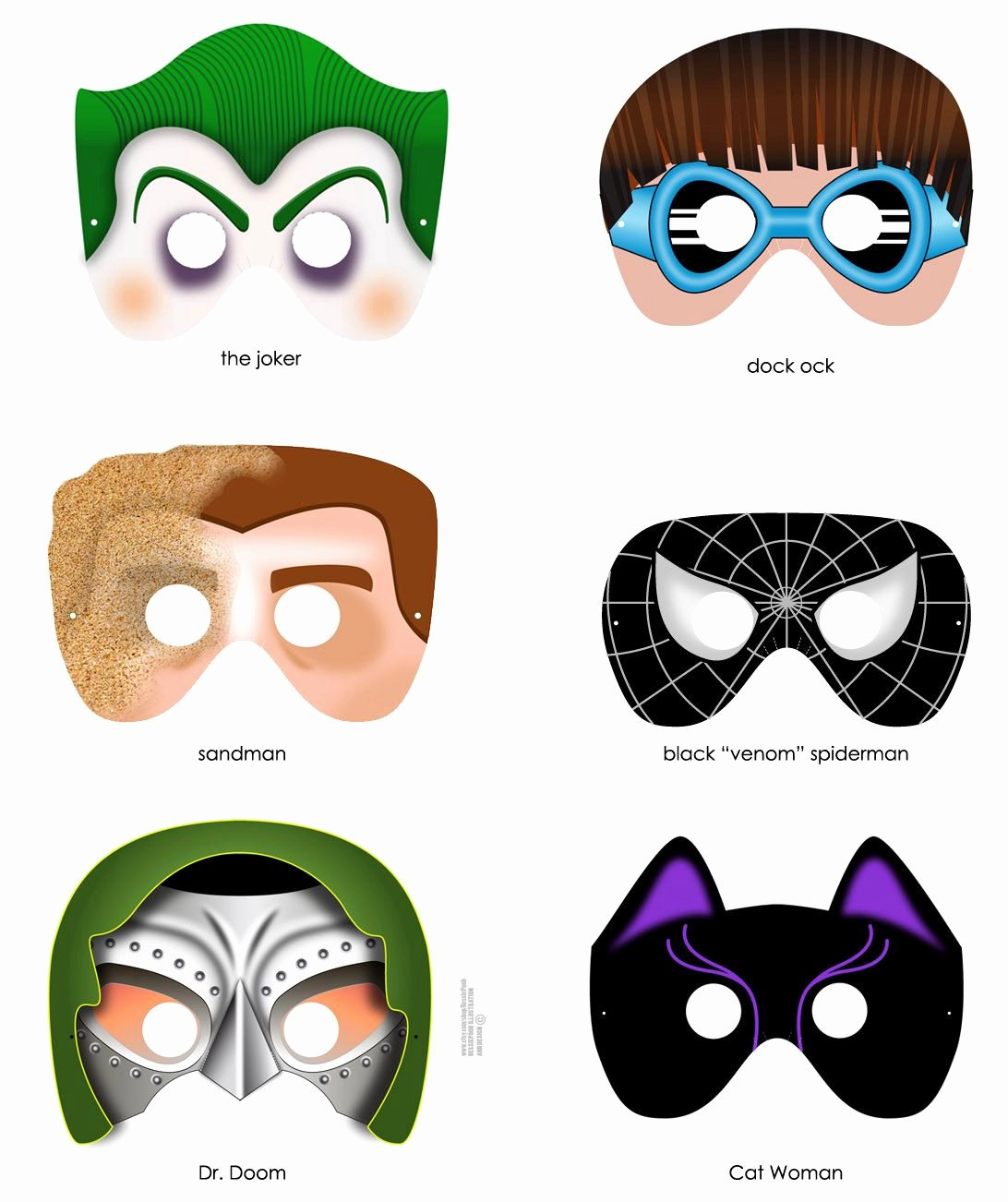 Superhero Mask Template Pdf Awesome 8 Superhero Masks Printable Pdf Files Craft Project