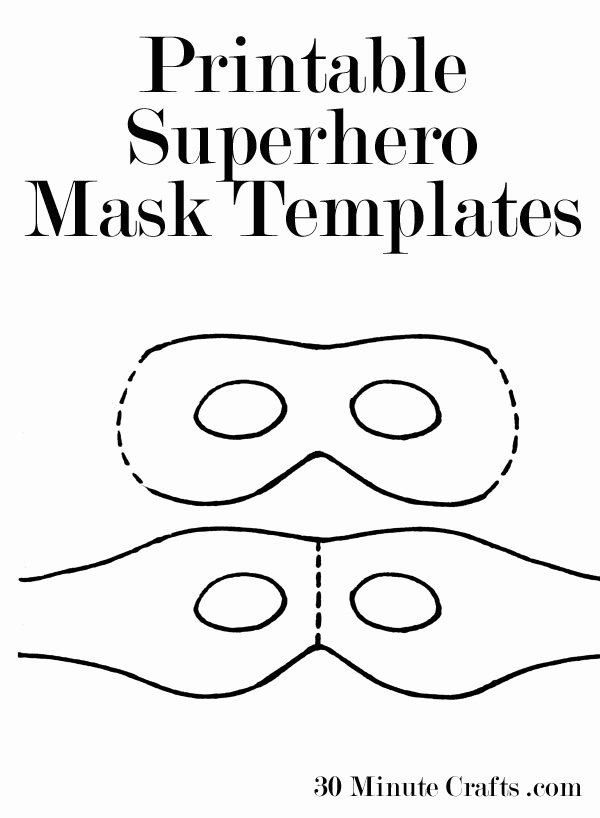 Superhero Mask Template Pdf Awesome Printable Halloween Mask Templates 30 Minute Crafts