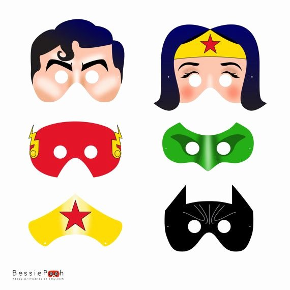 Superhero Mask Template Pdf Awesome Printable Justice League Masks Instant Pdf File