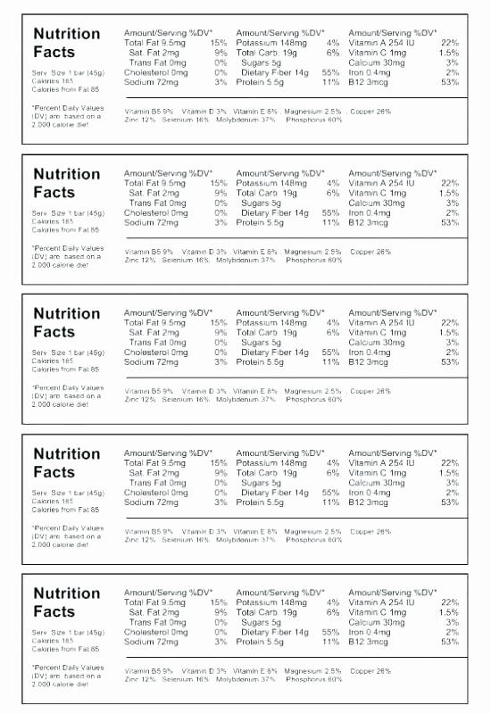 Supplement Facts Label Template Luxury Vector Nutrition Facts Food Table Label Design Template