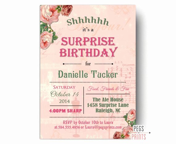 Surprise Party Invitation Template Beautiful Shabby Chic Surprise Party Invitation Printable Surprise