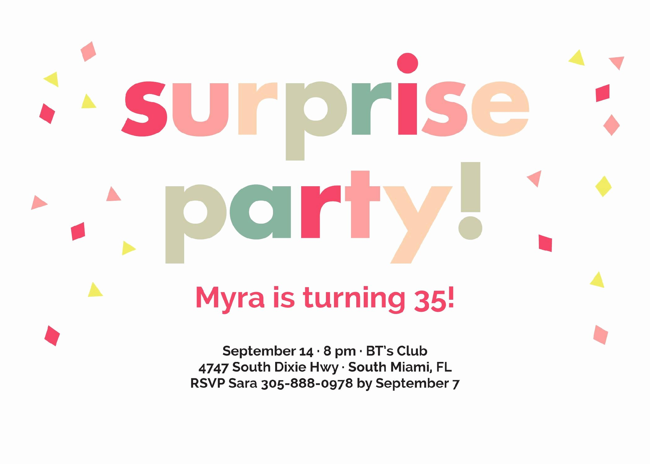 Surprise Party Invitation Template Luxury Birthday Party Surprise Birthday Invitations Card