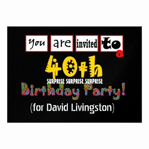 "Surprise Party Invitation Template New 40th Surprise Birthday Party Invitation Template 5"" X 7"