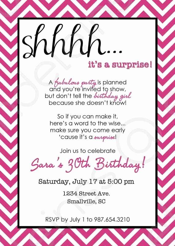 Surprise Party Invitation Template Unique Chevron Surprise Party Invitation